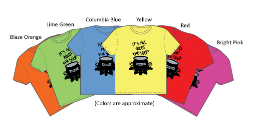 shirts in blaze orange, lime green, columbia blue, red, and bright pink