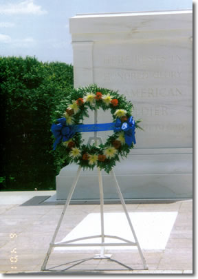 Wreath that was sent from Beardstown to be placed at the Tomb of the Unknowns